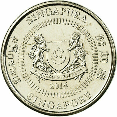 [#707478] Coin, Singapore, 10 Cents, 2014, EF(40-45), Copper-nickel