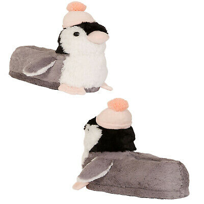 Loungeable Womens 3D Pebbles Penguin Slippers Novelty Bird Faux Fur Indoor Shoes