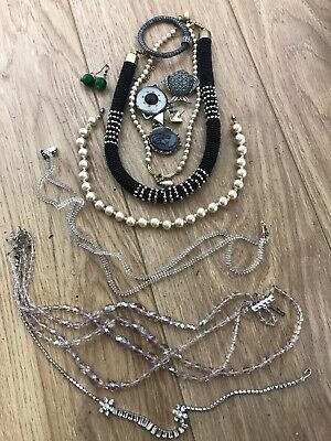 Bundle x10 items Vintage Antique Costume Jewellery Necklaces Earrings Broaches