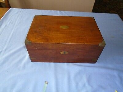 Vintage  Large Mahogany Wood Writing Box Sewing Box Desk Top With Brass Banding