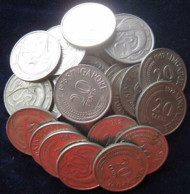 Singapore lot of 25 20 Cents swordfish  coin cutter circ.  #361