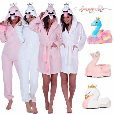 Loungeable Womens Novelty Swan Soft Nightwear Hooded All In One Robe Slippers