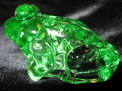 Green Vaseline glass Frog / Toad Figurine uranium yellow Jeremy candy container