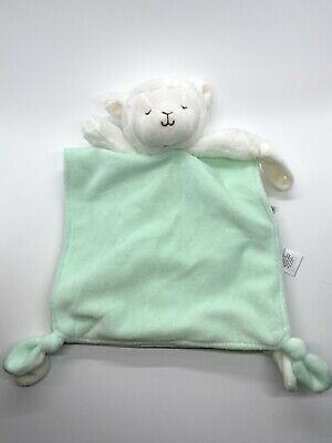 Carter's Lamb Sheep Lovey Security Blanket Green Pacifier Holder Knotted Rattle