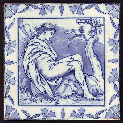 OBERON Large ANTIQUE WEDGWOOD Shakespeare TILE MIDSUMMER NIGHTS DREAM Circa 1880