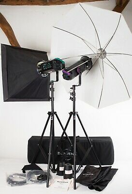Bowens Esprit 500/250 - Two Head Flash Outfit, Stands Brolly Softbox Leads Case