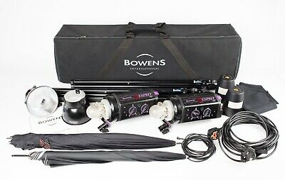 Bowens Esprit 250 - Two Head Flash Outfit, 2 x Stands, 2 x  Brollies, Leads Case