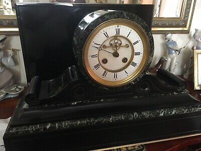 Stunning Large Marble Clock with Visible Escapement - Delicate Bell Strike