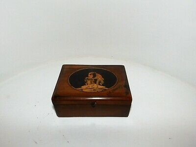 Superb Antique Sorrento Ware Inlaid Olive Wood Trinket Box