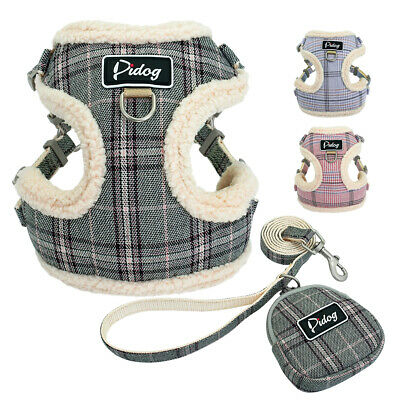 Small Dog Harness&Leads&Treat Bag Front Clip Soft Pet Puppy Cat Vest Pink Grey