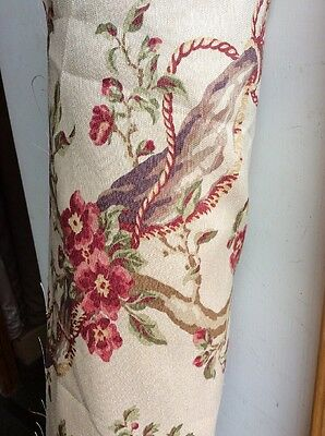 """TRADITIONAL CURTAIN FABRIC 10m Printed Floral Red BEAUMONT & FLETCHER """"Tournier"""