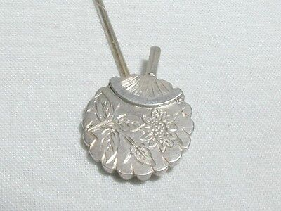 Antique Sterling Silver Chinese Fan Engraved Stick Pin Stock Pin Wedding
