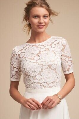 New Bhldn White Lace Jive Top Size Small Wedding Topper
