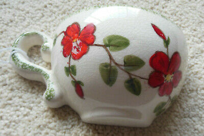 Vintage Ceramic Tea Cup Wall Pocket-1960's-1970's Red Flowers Green Trim