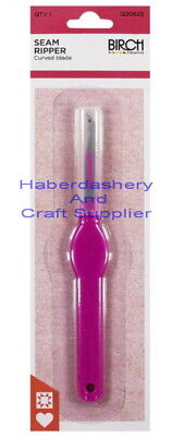 Birch Seam Ripper Curved Blade Pink Flat Handle With Safety Cap