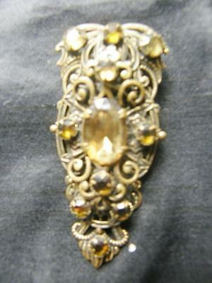 Vintage Art Deco Czech Bohemian Decorated Filigree Dress Clip - Yellow Stones
