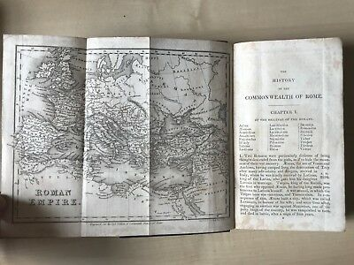 Dr Goldsmith's History of Rome with folding map 1828 Black Full Leather binding