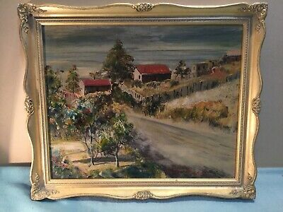 C V Howard Town Scene Framed Oil Painting