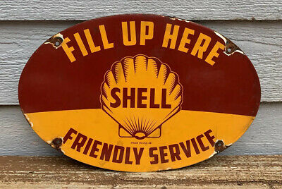 """Large 1948 Shell Porcelain Sign Oil Gas Performance Parts """"Friendly Service"""""""