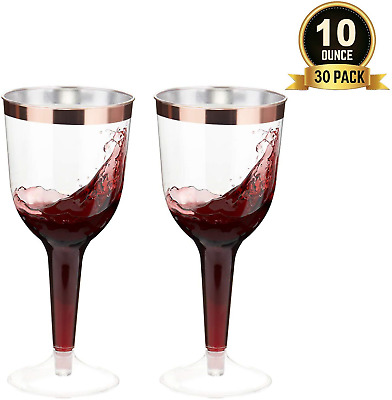 TOROTON 30 Plastic Wine Glasses, 300ml Rose Gold Rimmed Disposable Wine Glasses