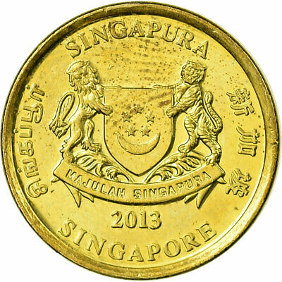 [#707477] Coin, Singapore, 5 Cents, 2013, EF(40-45), Aluminum-Bronze