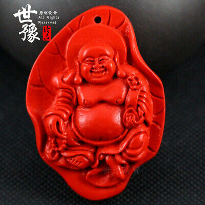 Natural Red Cinnabar Carving Lacquer Chinese Maitreya Happy Buddha Leaf Pendant