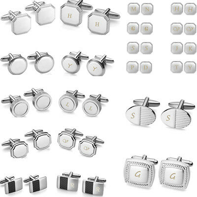 Engraving 2pcs Mens Stainless Steel Silver Cufflink Cuff Links Father's Day Gift