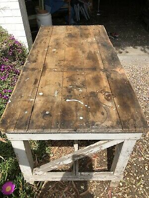SOLID Timber Workbench Industrial Vintage Wood (One of Two) P/U Templestowe