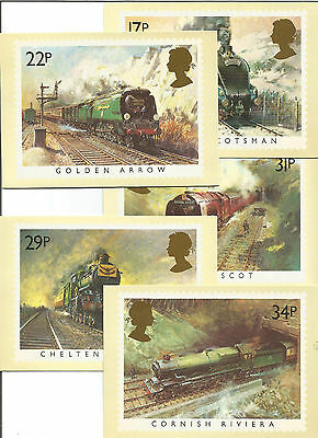 c1980s - UK PHILATELIC POSTCARDS, FAMOUS TRAINS, SERIES PHQ81, A TO E, SET OF 5