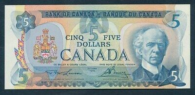 "Canada: 1979 $5 ""PM LAURIER"" Sig Lawson-Bouey. Pick 92a UNC Lt handling Cat $47"