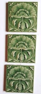 Three lovely Art Nouveau Majolica flower tiles by Craven and Dunhill