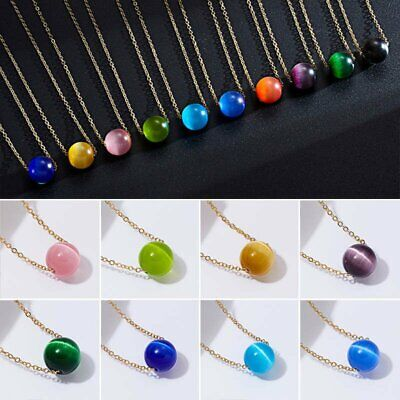 Fashion Opal Round Pendant Necklace Women Lady Clavicle Gold Chain Jewellery New