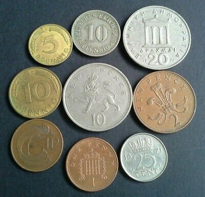 Europe coins 9 different England, Greece, Germany, Ireland, Netherlands