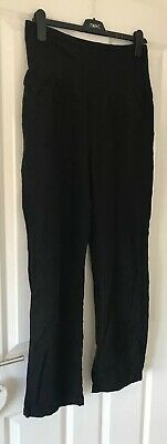 Blooming Marvellous Size 14 Black Linen Blend Overbump Trousers