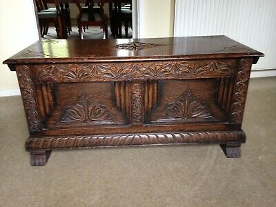Antique small oak chest coffer