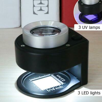 30 x optisches Glas Linse 6 LED Vollmetall Fadenzähler Lupe Klapplupe Magnifier