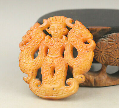 Old Chinese natural jade hand-carved double dragon and king pendant