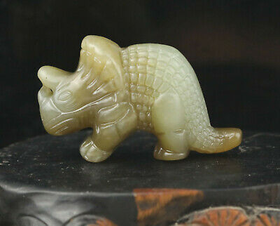 China old natural jade hand-carved rhinoceros pendant