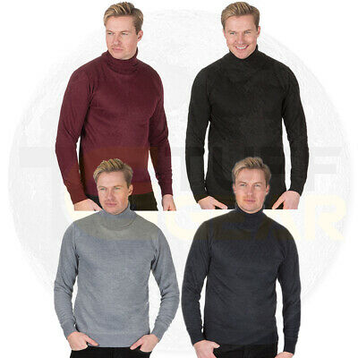 Mens Polo Roll Neck Jumper Knitted Funnel Sweater Smart Turtle Top Pullover