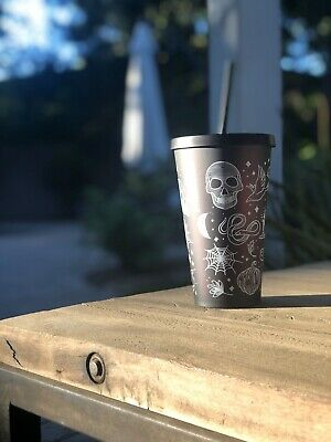 Starbucks Hard To Find Fall 2019 Halloween Skull Black Purple Tumbler Cold Cup