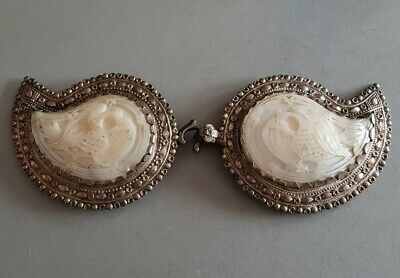 ANTIQUE Ottoman late medieval jewelry silver alloy belt buckle mother of pearl
