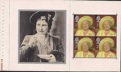 2000 Gb Qeii Royal Mail Dx25 Prestige Book Pane H.m. The Queen Mother 2160A