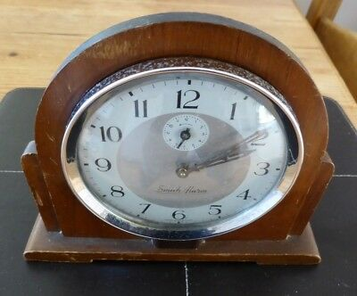 Vintage wood and chrome Smith Alarm mantle clock, in working order.