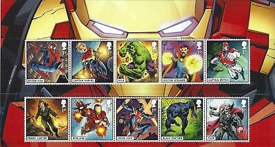2019 Gb Qe2 Royal Mail Commemorative Character Stamp Set Marvel Heroes Uk Mnh