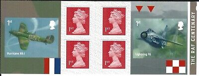2018 Royal Mail 6 1St Class Self Adhesive Stamp Book The Raf Centenary Sg Pm59