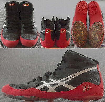ASICS JB Elite Wrestling Shoes Men's Size US 12 EUR 46 J3A1Y Black/Sliver/Red
