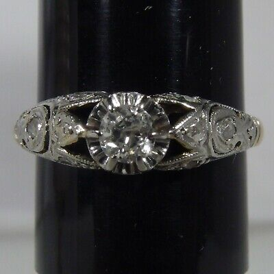 3707 Beautiful Victorian Ring In 18K White & Yellow Gold With Natural Diamonds