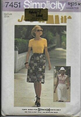 VTG Simplicity Sewing Pattern 7451 Misses' Jiffy WRAP SKIRT & TOPS 12,14
