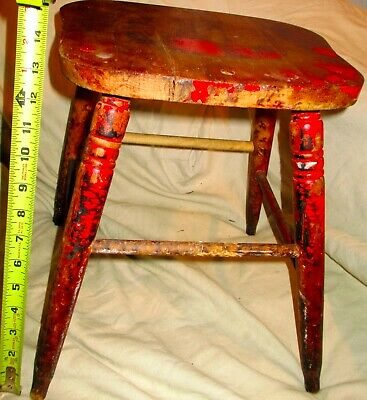 antique Foot Stool Country Pine Rustic Primitive Painted Red Child Seat Chair