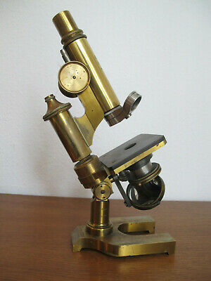 Ernst Leitz Wetzlar Messing Mikroskop Filiale New York Brass Microscope antik